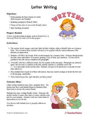 Letter Writing Activity for Computers and Word Processors