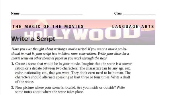 Lights, camera, action! Write a Script Activity