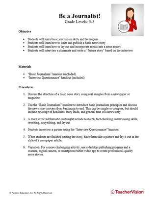 Be a Journalist! Research and Writing Activity