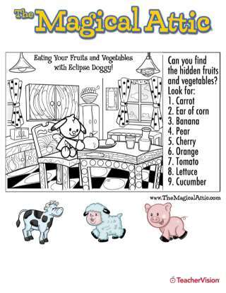 Magical Attic Find the Fruits and Veggies Coloring Page