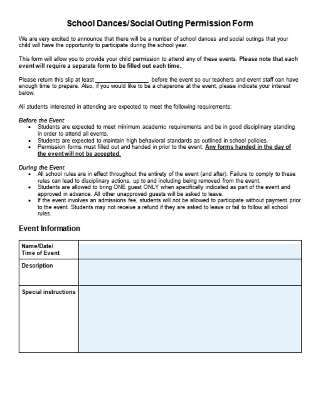 Editable School Dance or Social Outing Permission Form