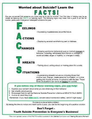 FACTS: The Warning Signs for Teen and Child Suicide
