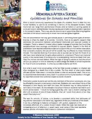 Memorials After Suicides: Guidelines for Schools and Families