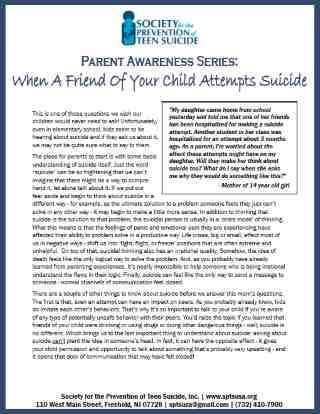 Parent Handout: When a Child's Friend Attempts Suicide