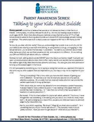 Parent Handout: Talking to Your Kids About Suicide