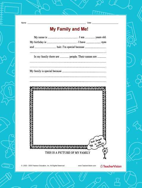 Printable activity for a unit on families
