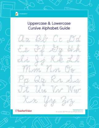 Lowercase and uppercase cursive practice