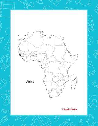 An outline map of the African continent