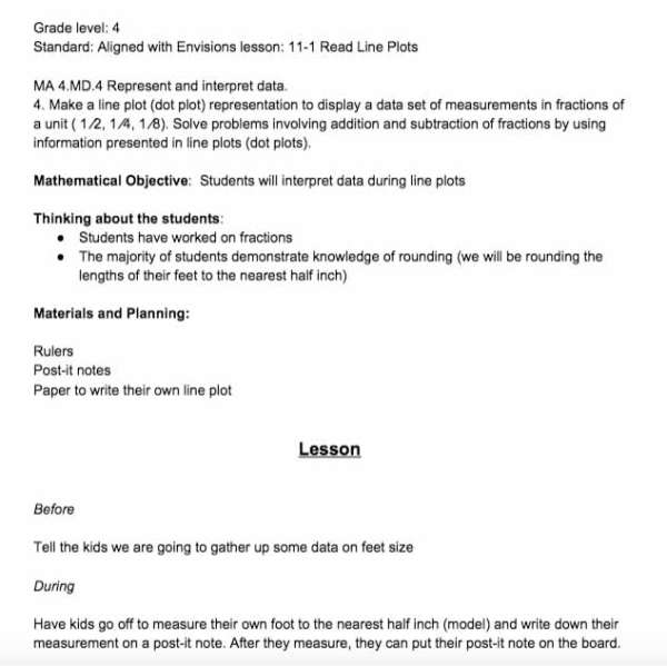Line Plot Lesson Plan