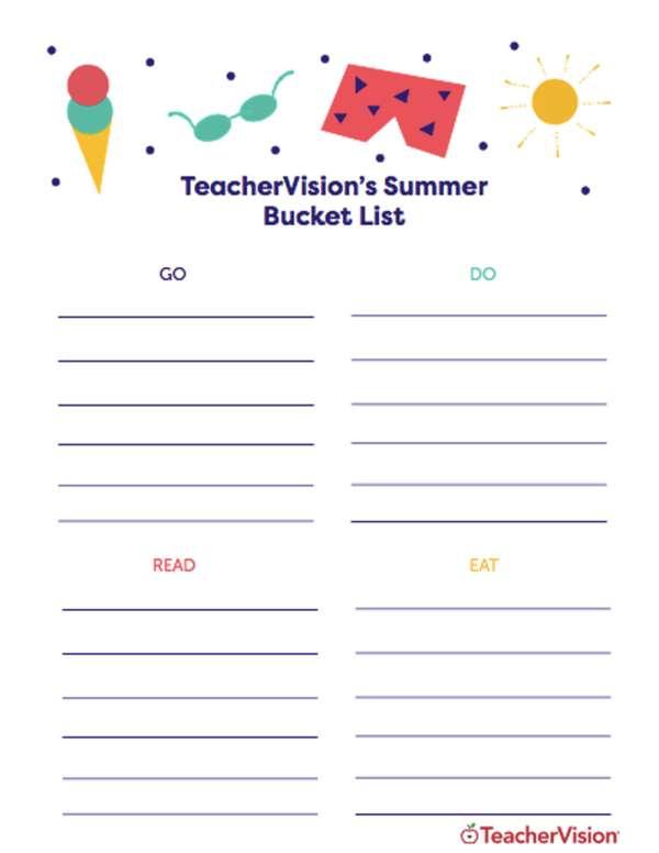 a summer bucket list printable for teachers