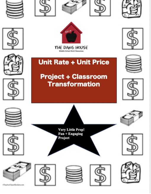 Unit Rate Unit Price Activity for grades 5-7