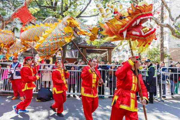 Chinese New Year dragon festival dancers