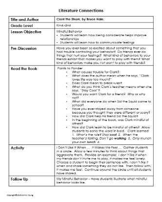 Literature and writing SEL activity for building mindfulness