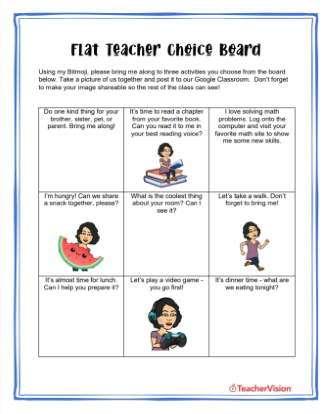 Flat Teacher Choice Board