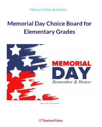 Memorial Day Choice Board for Elementary Grades