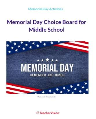 Memorial Day Choice Board for Middle School