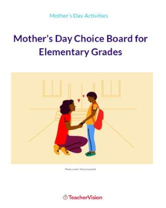 Mother's Day Choice Board for Elementary Grades