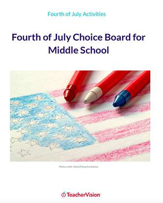 Fourth of July Choice Board for Middle Schoolers