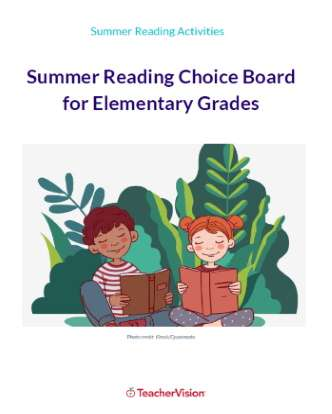 Summer Reading Choice Board for Elementary Grades