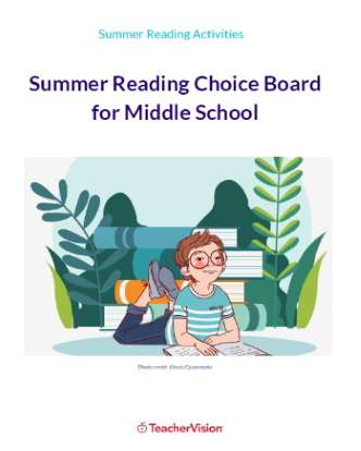 Summer Reading Choice Board for Middle School