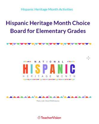 Hispanic Heritage Month Choice Board for Elementary Grades