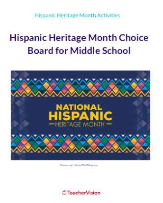 Hispanic Heritage Month Choice Board for Middle School