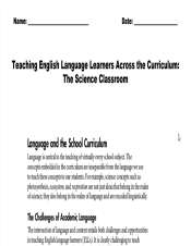 Teaching ELL Across the Curriculum: The Science Classroom