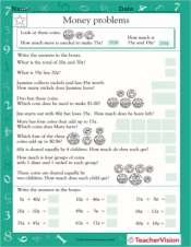 money word problems i worksheet grade 2 teachervision. Black Bedroom Furniture Sets. Home Design Ideas