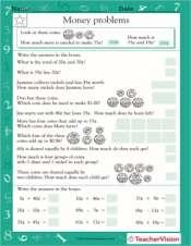 Money Word Problems I - Math Practice Worksheet (Grade 2 ...