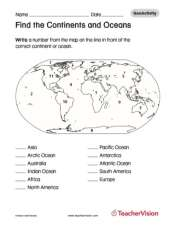 Find the continents and oceans geography printable 1st 8th grade find the oceans and continents gumiabroncs Choice Image