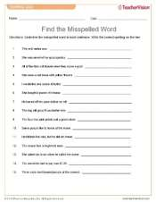 Find the Misspelled Words Quiz for Language Arts