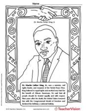 martin luther king jr coloring page black history month printable