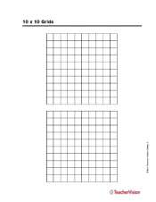 graphic regarding 10x10 Grids Printable referred to as 10 x 10 Grids - TeacherVision