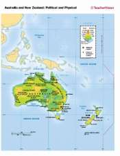 Full Map Of Australia.Political And Physical Map Of Australia And New Zealand Teachervision