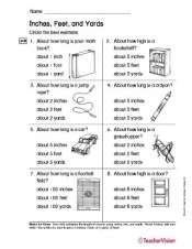 Inches, Feet and Yards Printable for Grade 2 Math