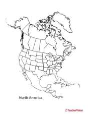 Map Of America Outline.Outline Map Of North America Teachervision