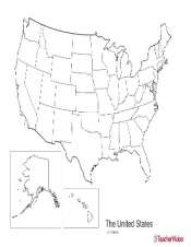 Us Map With States Black And White.Map Of Usa With States Geography Printable Teachervision