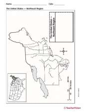 Printable Blank Map of the Northeast Region of the United States
