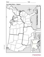 Printable Regions Map Of The United States.Map Of U S Regions Teachervision