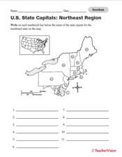 photo relating to States and Capitals Map Printable referred to as Quiz: Northeast U.S. Nation Capitals - TeacherVision