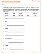 Matching Names of Famous Black Americans