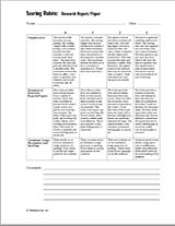 scoring rubric research report paper teachervision