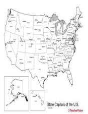 Us Map With State Capitals Geography Worksheet Teachervision - Black-and-white-us-map-with-states