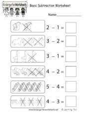 Early Learning Basic Subtraction Practice Worksheet