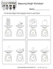 Early Learning Measuring Weight Practice Worksheet