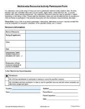 Editable Multimedia Resource or Activity Permission Form