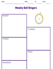 Weekly Bell Ringing Planning Sheet
