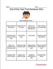 An end-of-the-year classroom activity