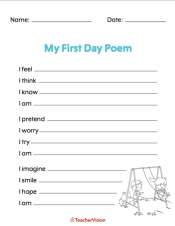 A poetry writing activity for the first day of school
