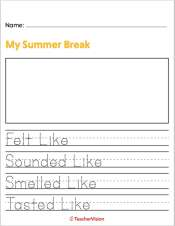 a writing activity to support students to reflect on their summer
